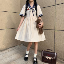 Dress Summer 2021 Off white S,M,L,XL Mid length dress singleton  Long sleeves commute High waist Solid color Socket A-line skirt routine 18-24 years old Type A More than 95% cotton