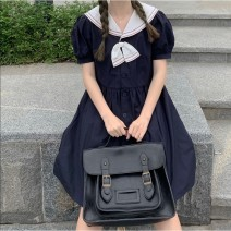Dress Summer 2021 Picture color [collection bow tie] S,M,L,XL Mid length dress singleton  Long sleeves commute High waist Solid color Socket A-line skirt routine 18-24 years old Type A More than 95% cotton