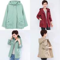 short coat Spring 2020 XL,2XL,3XL,4XL,5XL,L,M Khaki, red, bean green, sea blue Long sleeves routine routine singleton  easy commute routine Hood zipper Solid color 40-49 years old 96% and above pocket cotton cotton
