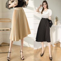 skirt Spring 2021 S M L XL Black Khaki Mid length dress commute High waist Pleated skirt Solid color Type A 25-29 years old FJN0108-62 More than 95% Pink girl other Korean version Other 100%