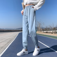 Jeans Spring 2021 wathet M L XL 2XL 3XL 4XL 5XL Ninth pants High waist Straight pants routine Wash with old water Wang Yihong Other 100% Pure e-commerce (online only)