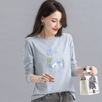 T-shirt Gray blue M L XL 2XL Spring 2021 Long sleeves Crew neck easy Regular routine commute cotton 86% (inclusive) -95% (inclusive) 18-24 years old Retro other Cartoon animation animal pattern plant flower geometric pattern alphanumeric Wang Yihong Printed embroidery Cotton 86% others 14%