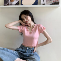 T-shirt Black, white, green, purple, pink S,M,L Summer 2021 Short sleeve V-neck Self cultivation have cash less than that is registered in the accounts routine commute other 51% (inclusive) - 70% (inclusive) 18-24 years old Korean version youth Solid color zx--1