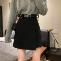 skirt Spring 2021 S,M,L Black, beige, khaki Short skirt commute High waist A-line skirt Solid color Type A 18-24 years old hj0.56 Wool Asymmetric, zipper Korean version
