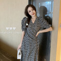 Dress Type A Lace up, printed Summer 2020 longuette singleton  Short sleeve commute V-neck Design and color other puff sleeve High waist A-line skirt Other Korean version Other / other One size fits all