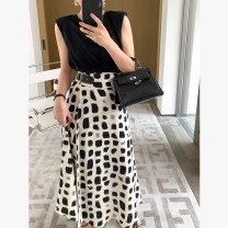 skirt Spring 2021 S M L XL black and white Mid length dress commute High waist A-line skirt Type H 25-29 years old MZ21103 More than 95% Beauty together polyester fiber printing Korean version Polyester 100%