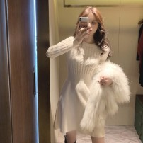 Dress Winter 2020 Khaki sweater knitted dress off white sweater knitted dress black sweater knitted dress S M L Mid length dress singleton  Long sleeves commute Crew neck High waist Solid color Socket A-line skirt routine Others 18-24 years old Qing Yingluo Korean version Splicing More than 95% other