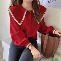 shirt Red, black S,M,L,XL Spring 2021 polyester fiber 51% (inclusive) - 70% (inclusive) Long sleeves commute Regular Doll Collar Single row multi button routine Solid color 18-24 years old Straight cylinder Korean version A281 Button