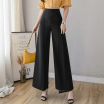 Casual pants S,M,L,XL,2XL Summer 2021 trousers Wide leg pants High waist commute Thin money 18-24 years old 51% (inclusive) - 70% (inclusive) other Korean version pocket