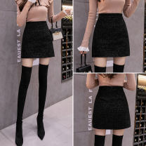 skirt Autumn 2021 S,M,L,XL black Short skirt commute High waist A-line skirt Solid color Type A 18-24 years old L3 51% (inclusive) - 70% (inclusive) corduroy other Korean version