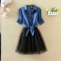 Dress Summer 2020 S,M,L,XL,2XL,3XL,4XL Middle-skirt Two piece set Short sleeve commute Polo collar Elastic waist Solid color Single breasted A-line skirt other straps 18-24 years old Type A Fold, strap 51% (inclusive) - 70% (inclusive) other polyester fiber