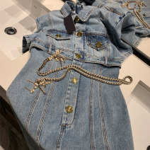 Dress Spring 2021 Picture color S M L Mid length dress singleton  Short sleeve commute High waist Solid color Single breasted A-line skirt routine 18-24 years old Type A Yue Zun Retro Button M3285 More than 95% Denim other Other 100%
