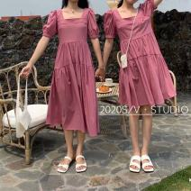 Dress Summer 2021 Yellow, red Average size Mid length dress singleton  Short sleeve commute square neck Elastic waist Solid color Socket A-line skirt puff sleeve Others 25-29 years old Type H Korean version Fold, splice More than 95% Chiffon polyester fiber
