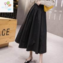 Dress Summer 2020 Army green, blue, black, khaki Average size Mid length dress commute High waist Solid color A-line skirt Other / other Korean version bow XH905243 91% (inclusive) - 95% (inclusive) brocade polyester fiber