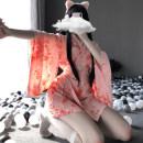 Nightdress Other / other Kimono + belt, kimono + BELT + stockings Average size (80kg-135kg) sexy Nine point sleeve pajamas UltraShort  summer Broken flowers youth V-neck Polyester (polyester) printing More than 95%