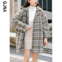 woolen coat Winter 2020 XS S M L XL Sea blue light black Monica other 95% and above Medium length Long sleeves commute Single breasted routine Polo collar lattice Straight cylinder Korean version QJN668 Qingjiaona 18-24 years old Solid color Imitation fabric Other 100% Pure e-commerce (online only)