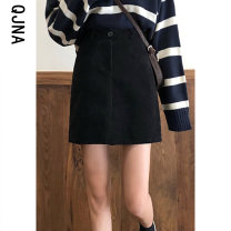 skirt Winter 2020 S M L Black Brown Short skirt commute High waist A-line skirt Solid color Type A 18-24 years old QJN9203 More than 95% Qingjiaona other Korean version Other 100% Pure e-commerce (online only)