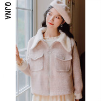woolen coat Winter 2020 S M L Pink other 95% and above routine Long sleeves commute Single breasted routine other Solid color Straight cylinder Korean version Qingjiaona 18-24 years old Button Solid color Other 100% Pure e-commerce (online only)