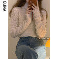 Lace / Chiffon Spring 2021 Off white girl powder S M L Long sleeves commute Socket singleton  easy Regular Half high collar Solid color routine 18-24 years old Qingjiaona QJN9055 fold Korean version 96% and above Other 100% Pure e-commerce (online only)