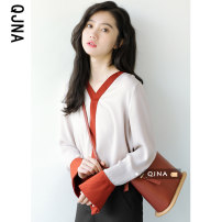 shirt Red and black S M L Spring 2021 other 96% and above Long sleeves Original design Regular stand collar Socket pagoda sleeve stripe 18-24 years old Straight cylinder Qingjiaona QJN871 Other 100% Pure e-commerce (online only)
