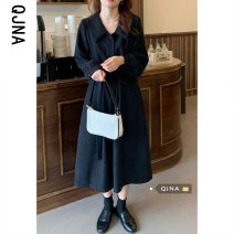 Dress Spring 2021 Black Brown S M L Mid length dress singleton  Long sleeves commute Polo collar middle-waisted Solid color Single breasted A-line skirt other Others 18-24 years old Type A Qingjiaona Korean version QJN1636 More than 95% other Other 100% Pure e-commerce (online only)