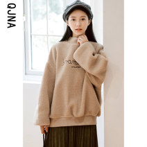 Sweater / sweater Winter 2020 Khaki Pink S M L Long sleeves routine Socket singleton  thickening Half high collar easy commute bishop sleeve letter 18-24 years old 96% and above Qingjiaona Korean version other QJN6092 Embroidery Other 100% Pure e-commerce (online only)