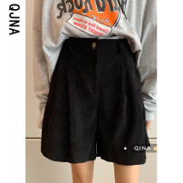 Casual pants Brown Black S M L Spring 2021 shorts Wide leg pants High waist commute routine 18-24 years old 96% and above QJN9205 Qingjiaona corduroy Korean version pocket cotton Other 100% Pure e-commerce (online only) Asymmetry