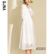 Dress Winter 2020 white S M L Mid length dress singleton  Long sleeves commute Crew neck High waist Solid color Socket A-line skirt routine Others 18-24 years old Type A Qingjiaona Korean version QJN1500 More than 95% other Other 100% Pure e-commerce (online only)