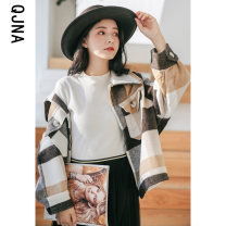 woolen coat Winter 2020 S M L Langega other 95% and above routine Long sleeves commute Single breasted routine Polo collar lattice Straight cylinder Korean version QJN6510 Qingjiaona 18-24 years old Button Solid color Other 100% Pure e-commerce (online only)
