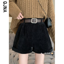 Casual pants Black [belt] apricot [belt] S M L Spring 2021 shorts Wide leg pants High waist commute thickening 18-24 years old QJN82045 Qingjiaona Korean version belt Other 100% Pure e-commerce (online only)
