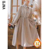 Dress Winter 2020 S M L XL Miniskirt singleton  Long sleeves commute Polo collar High waist Solid color Single breasted A-line skirt shirt sleeve Others 18-24 years old Type A Qingjiaona Korean version Bow and ruffle More than 95% other Other 100% Pure e-commerce (online only)
