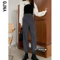 Casual pants Grey black S M L Spring 2021 trousers Wide leg pants High waist commute routine 18-24 years old 96% and above QJN9515 Qingjiaona other Korean version pocket polyester fiber Other 100% Pure e-commerce (online only) Asymmetry