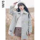 woolen coat Winter 2020 S M L Green blue apricot other 95% and above Medium length Long sleeves commute Single breasted routine Polo collar Plants and flowers Straight cylinder literature QJN1308 Qingjiaona 18-24 years old Embroidery Solid color polyester fiber Other 100%