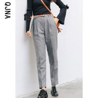Casual pants Grey brown S M L Winter 2020 trousers Straight pants Natural waist commute routine 18-24 years old 96% and above QJN8368 Qingjiaona polyester fiber Korean version pocket Other 100% Pure e-commerce (online only) Asymmetry