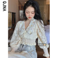Lace / Chiffon Autumn 2020 Apricot S M L Long sleeves commute Cardigan singleton  easy have cash less than that is registered in the accounts Doll Collar puff sleeve 18-24 years old Qingjiaona QJN9619 Korean version 96% and above Other 100%