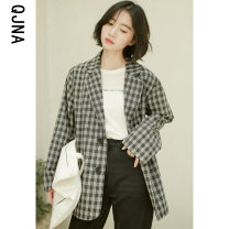 suit Winter 2020 Apricot black XS S M L Long sleeves routine Straight cylinder tailored collar Single breasted commute routine lattice QJN8482 18-24 years old 96% and above other Qingjiaona Other 100% Pure e-commerce (online only)