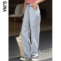 Jeans Spring 2021 wathet S M L trousers High waist Straight pants routine 18-24 years old light colour Qingjiaona Other 100% Pure e-commerce (online only)