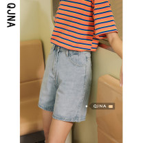 Jeans Spring 2021 wathet S M L shorts High waist Straight pants routine 18-24 years old washing Cotton denim light colour Qingjiaona Other 100% Pure e-commerce (online only)