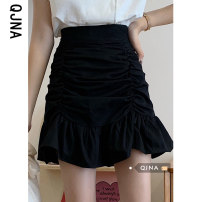 skirt Spring 2021 S M L White black Short skirt Versatile High waist A-line skirt Solid color Type A 18-24 years old More than 95% other Qingjiaona other Other 100% Pure e-commerce (online only)
