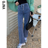 Jeans Spring 2021 Black Denim S M L trousers High waist Flared trousers routine 18-24 years old QJN8865 Qingjiaona Other 100% Pure e-commerce (online only)