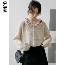 sweater Winter 2020 S M L Picture color Long sleeves Cardigan singleton  have cash less than that is registered in the accounts other 95% and above Lotus leaf collar thickening Sweet routine other Straight cylinder 18-24 years old Qingjiaona Embroidery Other 100% Pure e-commerce (online only)