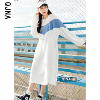 Dress Spring 2021 White blue S M L Mid length dress singleton  Long sleeves Sweet Hood middle-waisted A-line skirt 18-24 years old Qingjiaona Splicing QJN1896# More than 95% other other Other 100% college Pure e-commerce (online only)