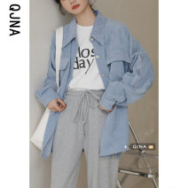 shirt Grey blue apricot Average size Spring 2021 other 96% and above Long sleeves commute Regular Polo collar Single row multi button routine Solid color 18-24 years old Straight cylinder Qingjiaona Korean version QJN8652 Button Other 100% Pure e-commerce (online only)