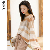 Wool knitwear Winter 2020 S M L Fog blue sunset yellow Long sleeves singleton  Socket other More than 95% Regular Thin money commute easy Low crew neck routine stripe Socket Korean version QJN003 18-24 years old Qingjiaona Other 100% Pure e-commerce (online only)