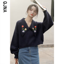 sweater Winter 2020 S M L Long sleeves Socket singleton  Regular other 95% and above V-neck Regular commute bishop sleeve Solid color Straight cylinder Regular wool Keep warm and warm 18-24 years old Qingjiaona Other 100% Pure e-commerce (online only)