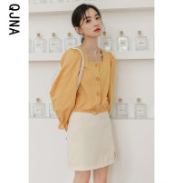 shirt White yellow black S M L Spring 2021 other 96% and above Long sleeves commute Regular square neck Single row multi button shirt sleeve Solid color 18-24 years old Straight cylinder Qingjiaona Korean version QJN5581 Other 100% Pure e-commerce (online only)
