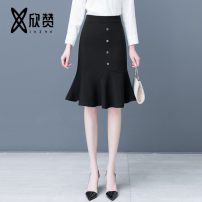 skirt Spring 2021 26/S 27/M 28/L 29/XL 30/XXL 31/3XL black Mid length dress commute High waist Ruffle Skirt Solid color Type A 25-29 years old XZM2141 other Xinzan (clothing) Asymmetric zipper with ruffles Korean version Exclusive payment of tmall 161g / m ^ 2 (including) - 180g / m ^ 2 (including)