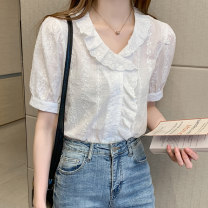 shirt white S M L XL 2XL Summer 2021 other 96% and above Short sleeve commute Regular V-neck Socket routine Solid color 25-29 years old Straight cylinder Fen Shixuan Korean version 07AA.0 Other 100% Pure e-commerce (online only)