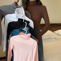 T-shirt Pink brown white black gray blue M L XL XXL Winter 2020 Long sleeves High collar Self cultivation Regular routine commute polyester fiber 86% (inclusive) -95% (inclusive) 18-24 years old classic Solid color Rockies 3201...` Polyester 95% polyurethane elastic fiber (spandex) 5%