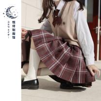 skirt Winter 2020 XS S M L XL Adzuki Bean 42cm adzuki bean 45cm adzuki bean 48CM Short skirt Natural waist Type A 18-24 years old Purplish red Please serve
